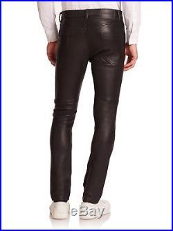 Helmut Lang Mens Leather Pant, Size 30x32, Skinny Fit, Black Lamb Skin