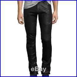 J Brand Mens Acrux Leather Moto Skinny Pants