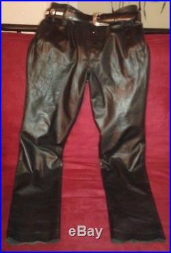 Jean Paul Gaultier Black Leather Lambskin Pants 32 with Nocona Men