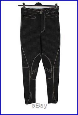 Jean Paul Gaultier Men Slim Tapered Biker Suede Leather App Pants Trousers Sz. 50