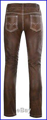 KMAX Men, s Leather Jeans Pants Premium Cow Plain Brown Leather White Stitches