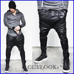 Kangaroo Pocket Mens Harem Faux Snakeskin Black Leather Baggy Sweatpants Guylook