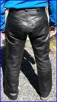Langlitz men's goatskin leather pants fits over 32X32, excellent condition
