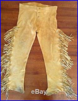 Leather Buckskin Pants Fringe Native American Mountain Man Reenactment Large L