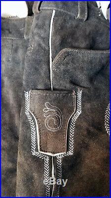 Lederhosen, Authentic Angermaier Goat Suede Leather Brown Mens Pants Size 46
