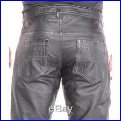 Light Stitch NYS Leather Pants Black Men New Size 34
