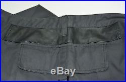 Louis Vuitton Men`s Leather Element Long Grey Sz 46 Side Pants Trousers Cotton