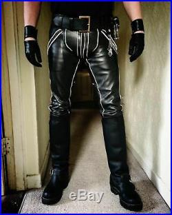 MEN'S LEATHER BREECHES GAY pants trousers Motorbike lederhosen lederjeans