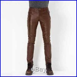MEN'S LEATHER BREECHES GAY pants trousers Motorbike lederhosen lederjeans BROWN