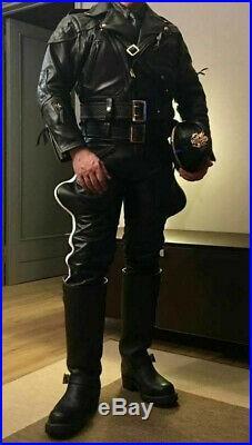 MEN'S LEATHER BREECHES GAY pants trousers Motorbike lederhosen lederjeans Police