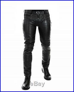 MEN'S LEATHER BREECHES GAY pants trousers Motorbike lederhosen lederjeans Quilt