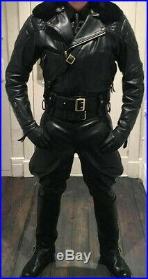 MEN'S LEATHER BREECHES pants trousers double zip lederhosen lederjeans