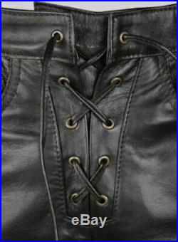 MENS LEATHER BIKERS PANT LACE UP MOTORBIKER MOTORCYCLE JEAN TROUSER 28 to 42