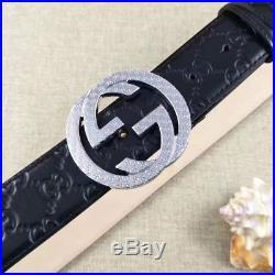 Men Gucci GG Monogram Black Leather Belt Silver Buckle 100-110cm Pants35-42 NWT