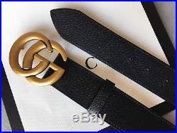 618f98d0b62 Men Gucci GG Monogram Black Leather Belt Silver Buckle 110cm Pants40-42 NWT
