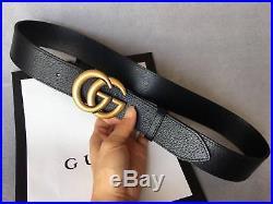 Men Gucci GG Monogram Black Leather Belt Silver Buckle 110cm Pants40-42 NWT