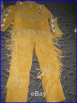 Men Handmade Native American Buckskin color Mountain Man Leather shirt and pants