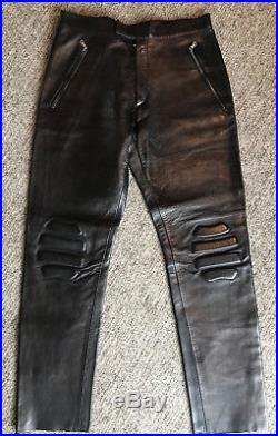 Men Prada Black Extra Soft + supple Leather Biker Pant Made In Italy 30 x 29