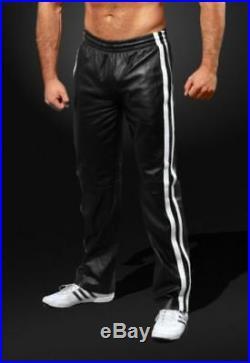 Men Premium Real Leather Bottoms Jogging Trouser Tracksuit Gym Pants / UK Seller