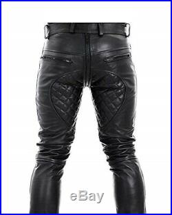Men Real Leather Quilted Pants with Zipper Sheep/Lambskin Leather Biker Trouser