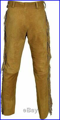 Men Suede Western Style Cowboy Leather Pant With Fringe & Bead Work