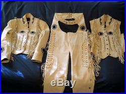 Men offwhite Western cow Leather Jacket Vest and Pants Bones, Fringe Beads Work
