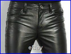 Men's Black Casual Slim Fit Pure Leather Pants Cow Plain Trousers Jeans Pants