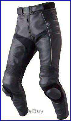 Men's Black Leather Pant Perforated Motorcycle Biker Racing Armor Pant 34W X 32L