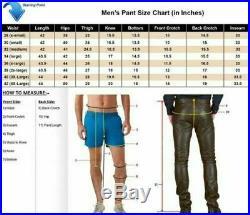Men's Black Real Breeches Leather Pant BLUF lederhosen Biker Jeans Trousers