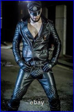 Men's Cowhide Leather Punk Kink Pants Bikers Trousers Jeans Padded BLUF Schwarz
