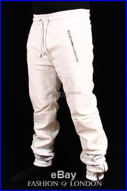 d976bb5a5801 Men s JOGGER White Lambskin Premium Leather Jogging Trouser Track Suit Draw  Pant