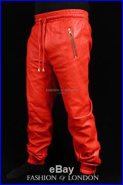 Men's JOGGERS Red Lambskin Premium Leather Jogging Trouser Track Suit Draw Pants