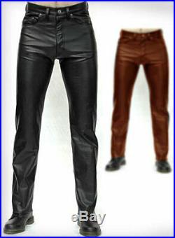 Men's Leather Trouser Genuine Tan Napa Biker Motorcycle Jeans 501