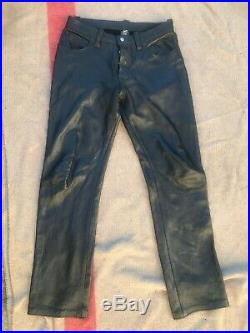 Men's Leather Uniform Vintage Pants