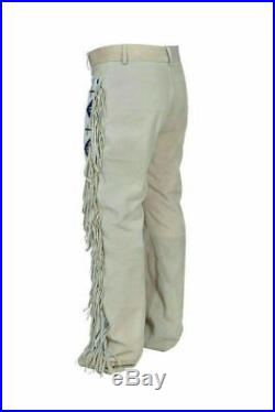 Men's Native American Buckskin Genuine Suede Leather With Fringe beads Work Pant