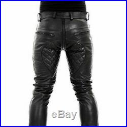 Men's Original Leather Pants Double Zips Quilted Pants Gay Interest BLUFF Pants