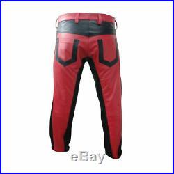 Men's Real Cowhide Leather BLUF Pants Red & Black Bikers Pants