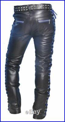 Men's Real Cowhide Leather Laces Up Pants Bikers Contrast Laces Up Pants