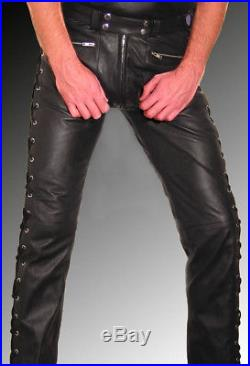 a60f588e702c Men's Real Cowhide Leather Laces Up Pants Bikers Pants + FREE LEATHER BELT