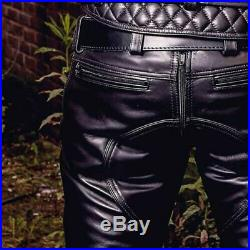 Men's Real Cowhide Leather Pants Double Zipped Jean Trousers BLUF Pants Bikers