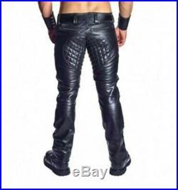 Men's Real Cowhide Leather Pants Punk Kink Jeans Trousers BLUF Pants Bikers