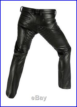 Men's Real Cowhide Leather Quilted Panels Pants With Or Without Back Zip