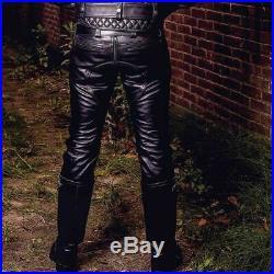 Men's Real Leather Bikers Pants Double Zips BLUF pants Bikers Cowhide Pants