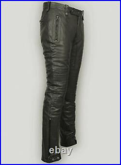 Men's Real Leather Bikers Pants Leather Quilted Knees Panels Bikers Pants