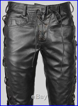 amazing price terrific value shoes for cheap Men's Real Leather Bikers Pants Side & Front Laces Up Bikers ...