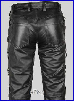 6043031434af Men's Real Leather Bikers Pants Side & Front Laces Up Bikers Pants 501  Styles