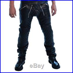 Men's Real Leather Carpenter Pants With Quilted Panels Quilted Sailor Pants