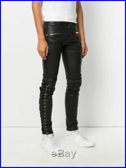 Men's Real Leather Laces Up Bikers Pants Laces Up Cowhide Leather Pants