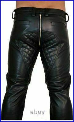 Men's Real Leather Pants Double Zips Pants Gay BLUF Breeches Lederhosen Jeans