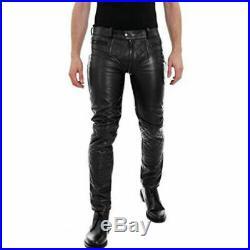 Men's Real Leather Pants Double Zips Pants Gay Interest BLUF Pants
